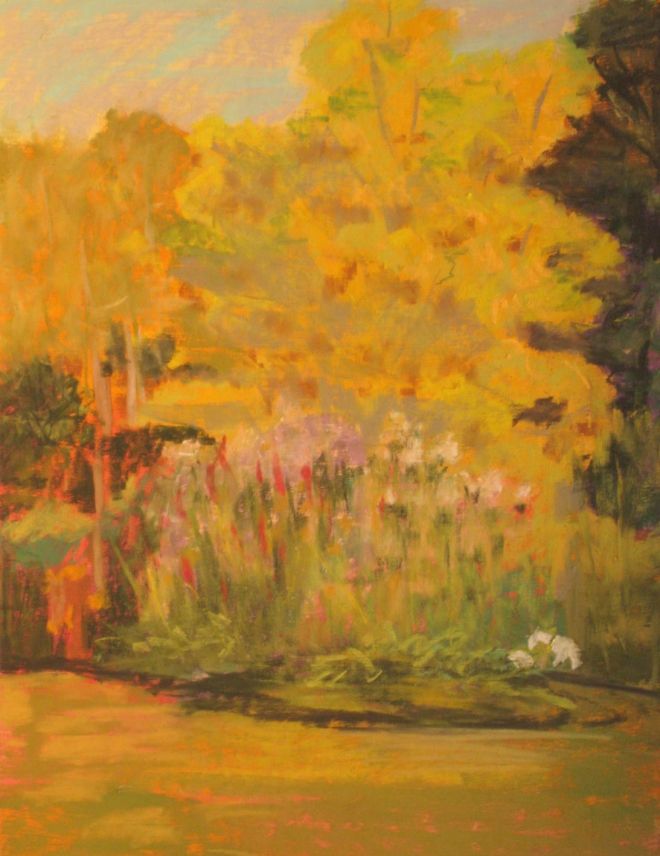 "© Mary Garner-Mitchell. Pastel on paper. ""Flower Camp"" garden in Buckingham County, Virginia"